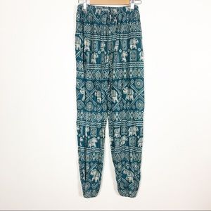 Gypsy Rose Green & Tan Elephant Print Soft Pants
